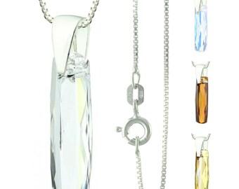 925 Sterling Silver Faceted Column Swarovski Crystal Pendant Necklace