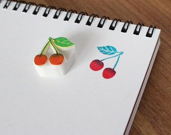 Cherry rubber stamp. Fruit hand carved stamp. Handmade stamp. Unmounted stamp. Cute stamp.