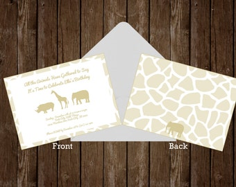 Gold Safari Party Invitation