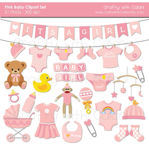 Baby Girl Clipart, Girl Baby Shower clipart, Pink Baby Clipart, Instant Download, Banners, Teddy Bear, Sock Monkey, Onesie