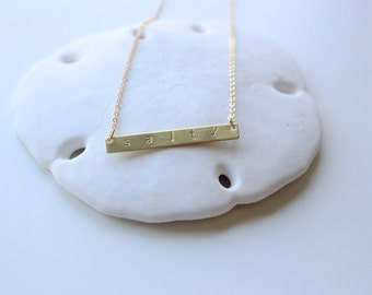Salty Skinny Brass Bar, Stamped Bar Necklace, Gold Chain