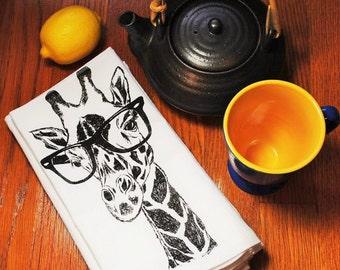 Cotton Napkin - Screen Printed - Recycled Cotton Eco Friendly Cloth Napkins - Black Giraffe Dinner Party Napkins -Handmade