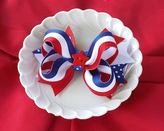 4th of July Boutique Hair Bow, Patriotic Hair Bow, Fourth of July Bow, Red White and Blue Hair Bow