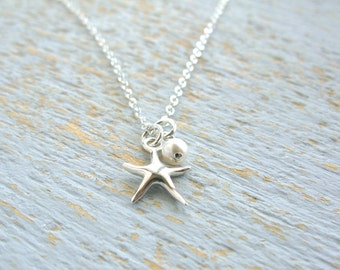 Simple Starfish Necklace, Silver Starfish Necklace, Starfish Charm Necklace, Tiny Starfish Necklace, Starfish and Pearl Necklace