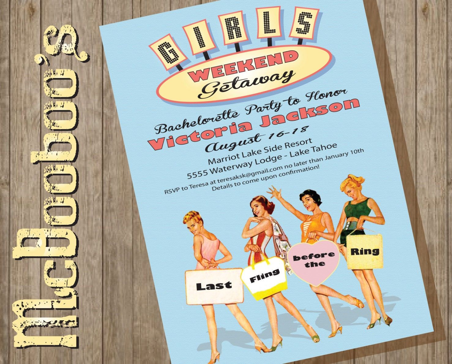 retro girls weekend getaway road trip invitation. Black Bedroom Furniture Sets. Home Design Ideas