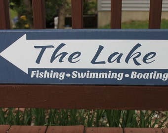 Wooden sign - The Lake: fishing, swimming, boating - Custom sign for indoor or outdoor use