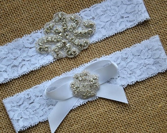 Wedding Lace Crystal Rhinestone Garter Wedding Garter Bow Ivory White Crystal Garter Set Bridal Garter Set Vintage and Toss Garter Set