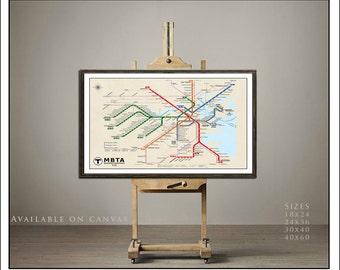 BOSTON Subway Map Poster. Tube Map, Map Art, Metro Map, Subway, Boston Map, Subway Art, MBTA Map Updated 2015