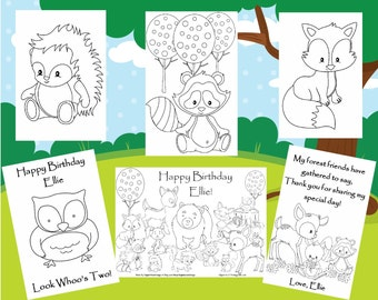 Customized Woodland Friends Party Favor Coloring Book SENT BY EMAIL - Personalized Just for You