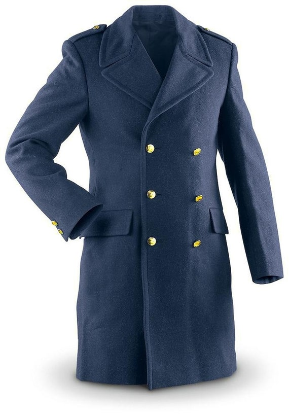 Vintage 1960s double breasted Swedish blue wool army