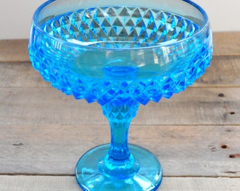 Blue Pressed Glass Candy Dish