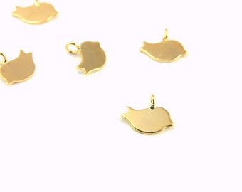 24k Gold Charm, 5pcs Gold Plated Bird Charms, Gold Brass Pendant Charm, Gold Bird Charms, Tiny Gold Bird Charm, Gold Plated Bird, Gold Charm