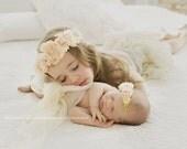 Big Sis Lil Sis Matching Flower Crown Set, Mom & Daughter Boho Flower Crown Felt Flower Match Girl Headband Baby Wedding Floral Crown Wreath