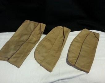 Three (3) Vintage Military Citadel Cadet Uniform Caps - Tan Wool