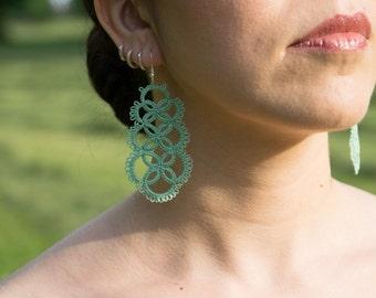 Handmade Tatting Earrings - cotton earrings - green water clear - very light!