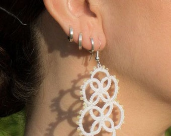 Handmade Tatting Earrings - VERY LIGHT - withbeads -  earrings wedding