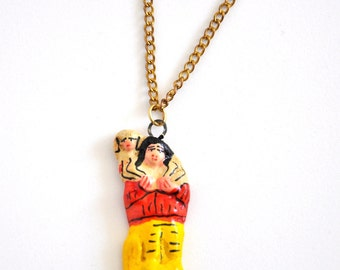 Vintage Woman and Sheep Folk Art Pendant Necklace