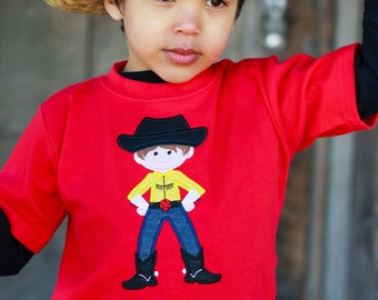 Boy's Western Cowboy Shirt with Embroidered Name on Red