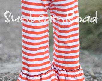 Orange Knit Stripe Halloween Ruffle Pants