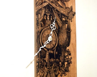 """Large Wall Clock with Cuckoo Clock Art on Solid Wood Tall 33"""" x 8"""""""