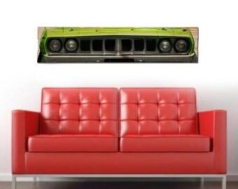"""Large '71 Plymouth Barracuda Car Wall Art on Solid Wood Boards - 48"""" x 11"""" Automobile Decor HEMI 'Cuda 1971 Mopar"""