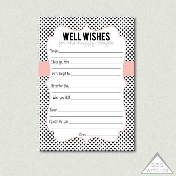 Printable Well Wishes Advice For The Couple By SOSWeddings On Etsy