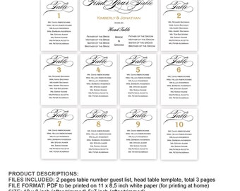 wedding table name guest list template wedding seating arrrangement seating chart template instant