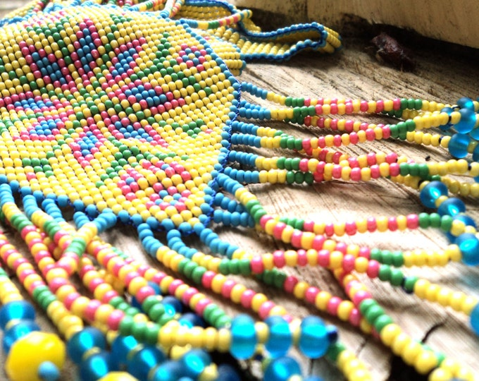 Ethnic woven beaded necklace Gerdan with national Ukrainian pattern in traditional Ukrainian colors, seed bead pendant, blue-yellow necklace