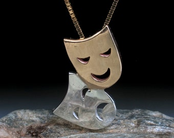 Face necklace - Theater masks - comedy tragedy -Gold and Silver - gift for actor