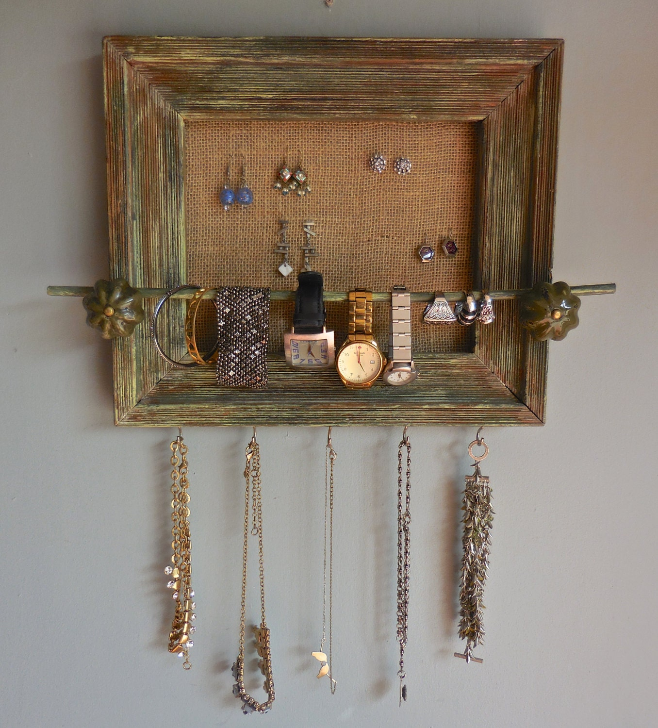 Mirror Jewelry Cabinet - Solid Wood Wall-Mounted Organizer ... |Wooden Wall Jewelry Organizer