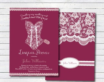 Lingerie shower invitation. Elegant lace burgandy lingerie shower bachelorette party Printable invitation. Printable Invite
