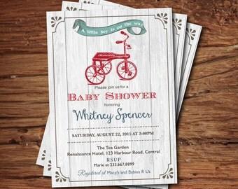 Trike baby shower invitation. Rustic wood, burlap. Vintage toy tricycle baby boy shower invite. It's a boy. Printable digital invite. B135