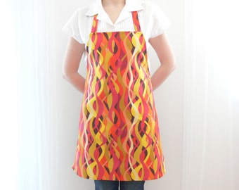 Cotton Apron, Full Kitchen Apron, Women's Apron, Orange Geometric Apron, Baking Apron, Hostess Gift for Her, Ready to Ship