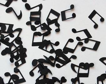 100 Music Note Black Paper Die Cut Confetti