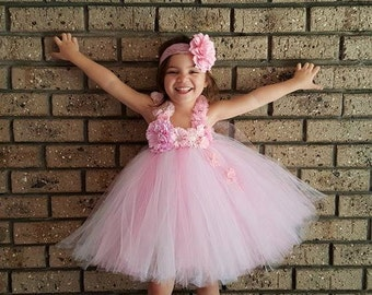 Pink and White Gorgeous Knee length Tutu Dress- Pink Flower Girl Tutu Dress, White Flower Girl Dress