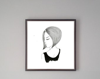 On hair-Handmade original illustration