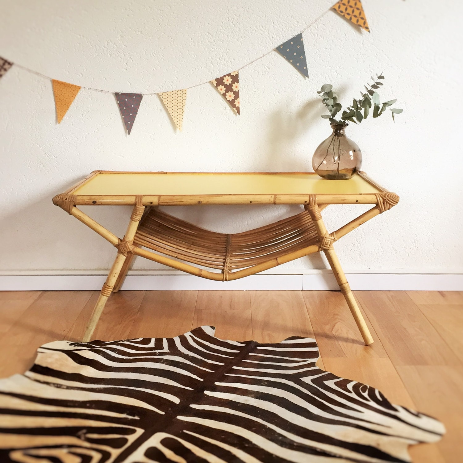 Rattan Coffee Table Etsy: Table Coffee Table Rattan Mid Century Modern By