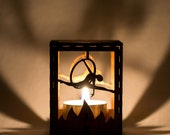 """Circus Aerialist with Aerial Hoop Lyra laser cut wood tea light holder. 2.5""""x2/5""""x3"""". Tea light candle included. Free shipping to US."""