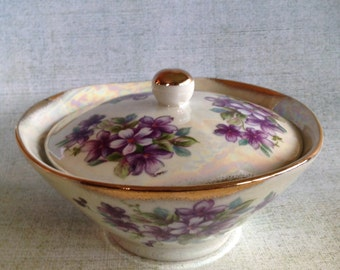 Vintage china covered candy or trinket dish with purple violets