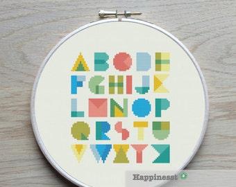 modern cross stitch pattern alphabet, geometric, PDF pattern ** instant download**