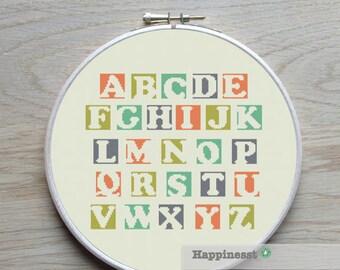 modern cross stitch pattern, alphabet, blocks, ABC,  PDF pattern ** instant download**