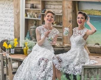 Short lace wedding dress, Bohemian guipure lace wedding dress, short beach wedding dress, boho lace ivory dress