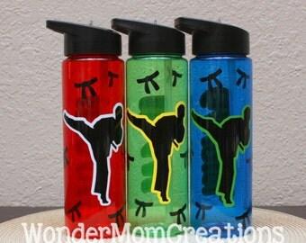 Karate Water Bottle; Martial Arts Water Bottle; 24 oz Flip Top Water Bottle