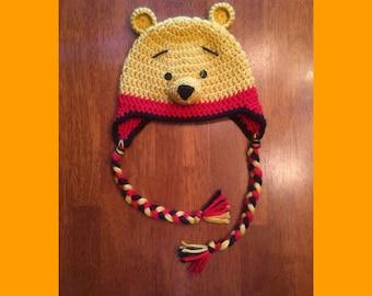Crochet Baby/Toddler/Child Winnie the Pooh Bear Hat, Crochet Winnie the Pooh Hat, Winnie the Pooh