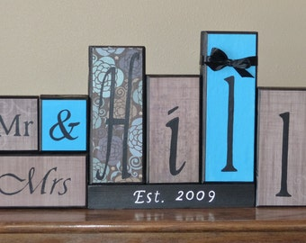 Mr. and Mrs. Family Name Block Letters home decor unique custom gift
