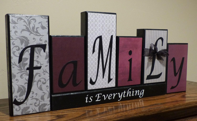 word blocks home decor name blocks gift office by tarasblocks home decor wood word art family distressed blocks by