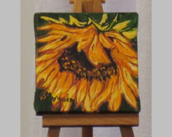 "Weeping Sunflower , Acrylic, Mini Painting , Flower Painting , 3"" x 3"" Canvas , With Easel"