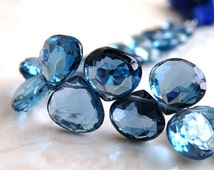 AAA London Blue Topaz Heart Briolettes - Matched Set of 2