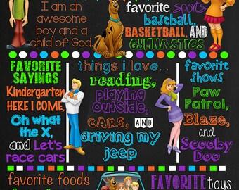 Scooby Doo Birthday Chalkboard Poster DIGITAL FILE