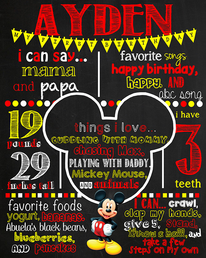 Mickey Mouse Birthday Chalkboard Poster DIGITAL FILE